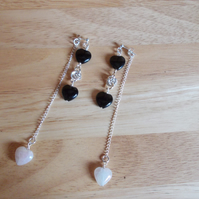 Obsidian and rose quartz drop earrings