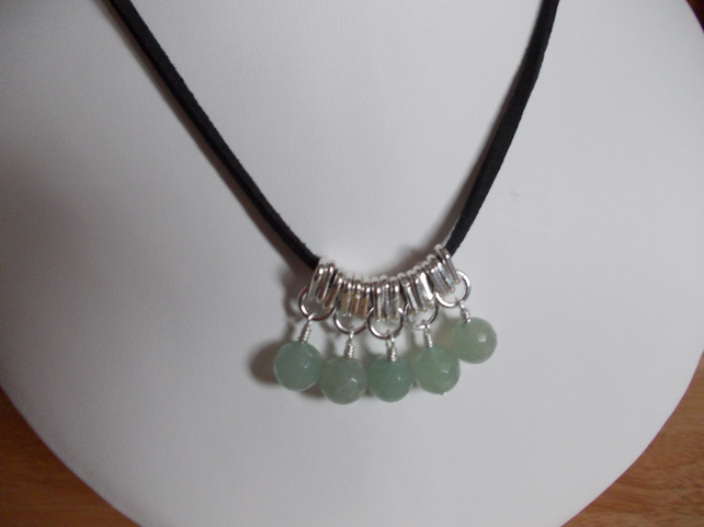 Green aventurine charm necklace