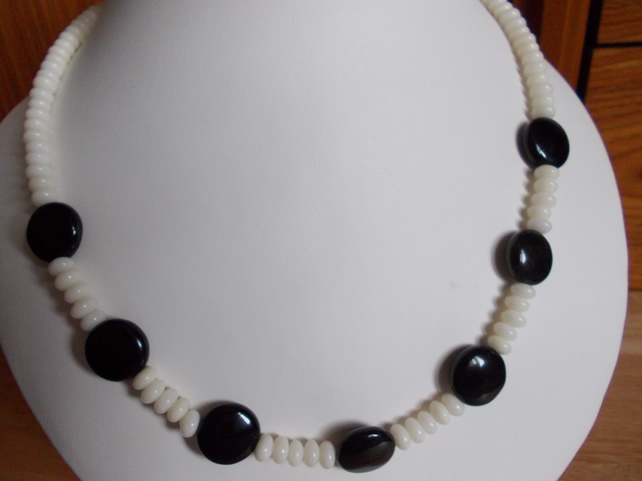 Obsidian coins and coral necklace