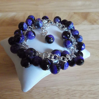 Purple and black agate chunky charm bracelet