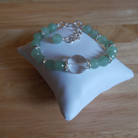 Aventurine and quartz bracelet