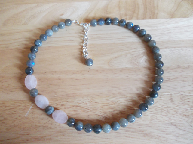Rose quartz and labradorite asymetric necklace