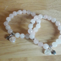 Rose quartz elasticated friendship bracelets