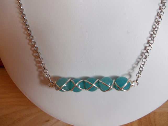 Wire wrapped aqua quartzite bar necklace