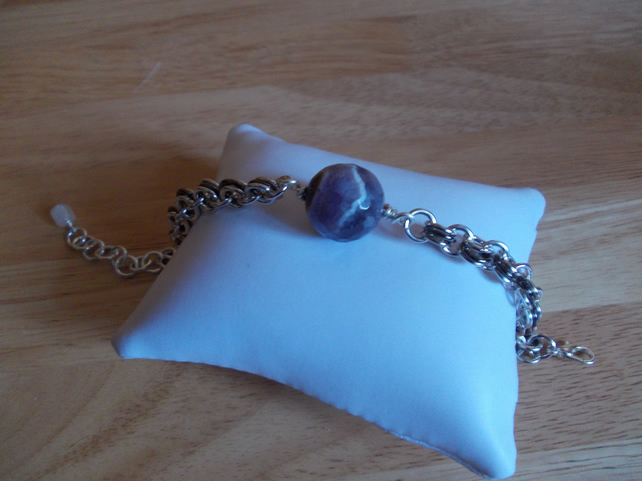 Dogs tooth amethyst and chainmaille bracelet