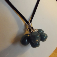 Teal agate cluster pendant