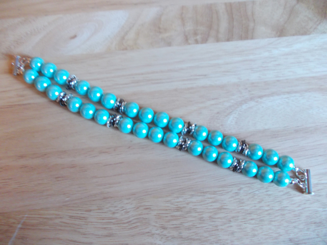 Teal shell pearl double strand bracelet