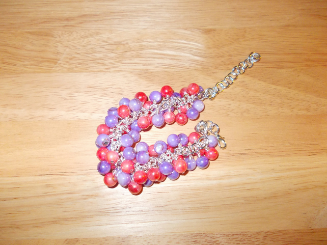 Pink and purple rainbow coated shell chunky charm bracelet