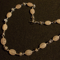 Rose quartz and chainmaille long necklace