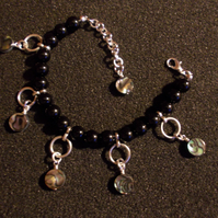 Agate bracelet with abalone charms