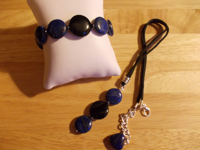 Lapis Lazuli and black agate coin set