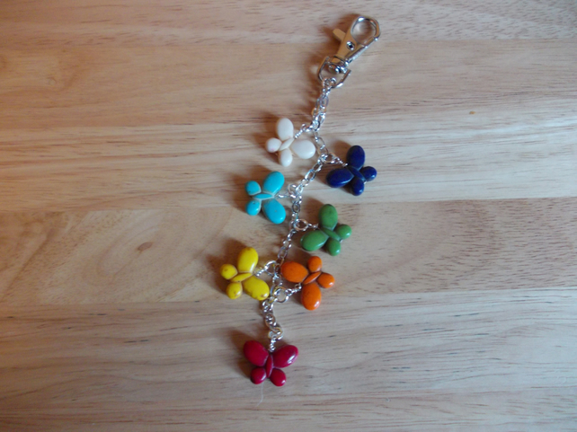 Rainbow butterfly bag charm