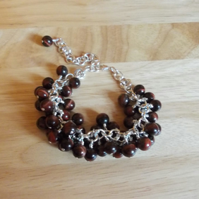 Red Tiger's eye charm bracelet