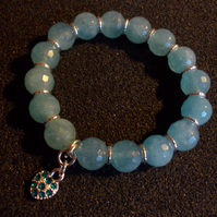 Blue quartz elasticated charm bracelet