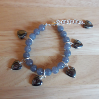 Cloudy Quartz and haematite charm bracelet