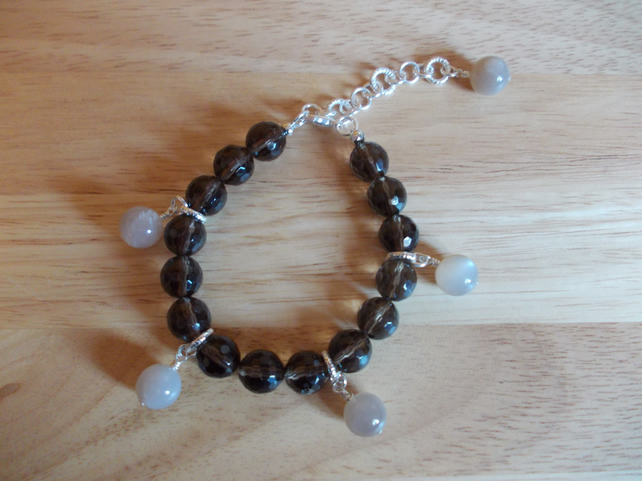 smokey quartz and peach moonstone charm bracelet