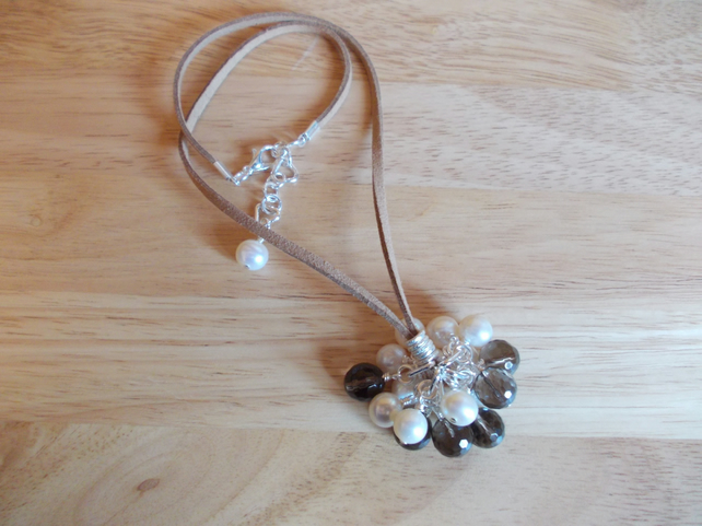 Smokey quartz and cream pearl cluster pendant