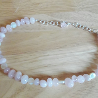 Rose quartz nugget and cream shell choker necklace
