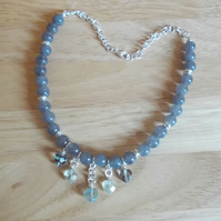 Cloudy quartz and fluorite heart choker