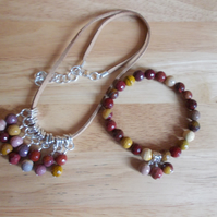 Mookite fringe necklace and stretchy bracelet