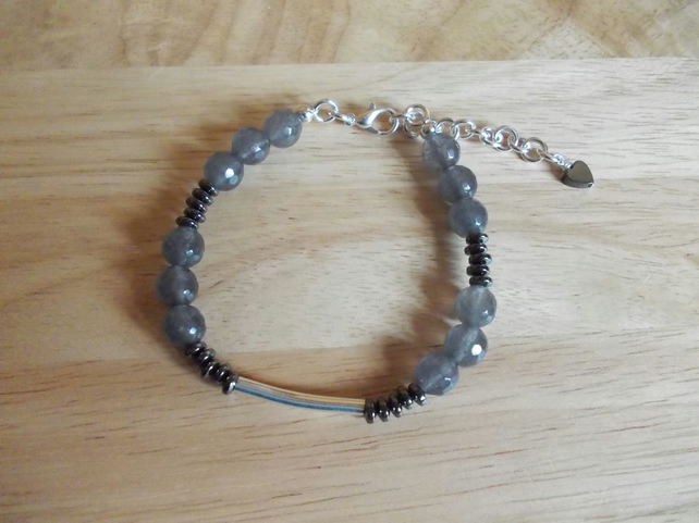 Grey Agate and haematite bracelet