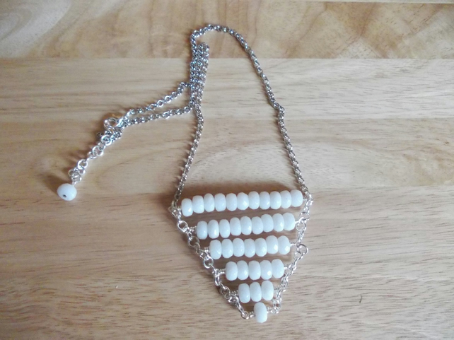 White quartzite rondelle bib style necklace