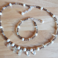 Smokey quartz, green amethyst and pearl set