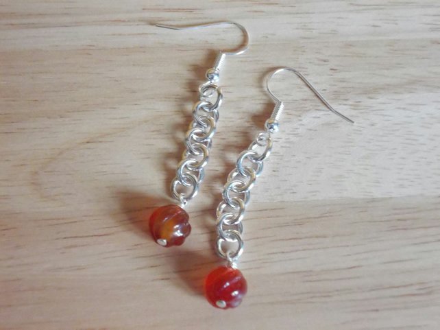 Carved Carnelian drop earrings