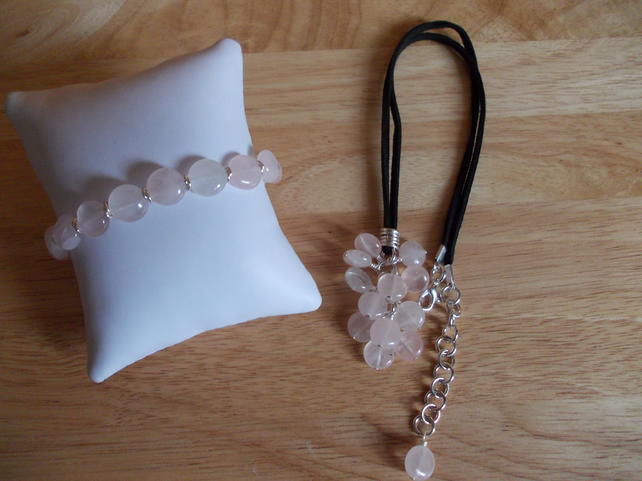 Rose quartz coin set