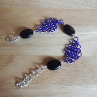 Purple chainmaille and obsidian bracelet