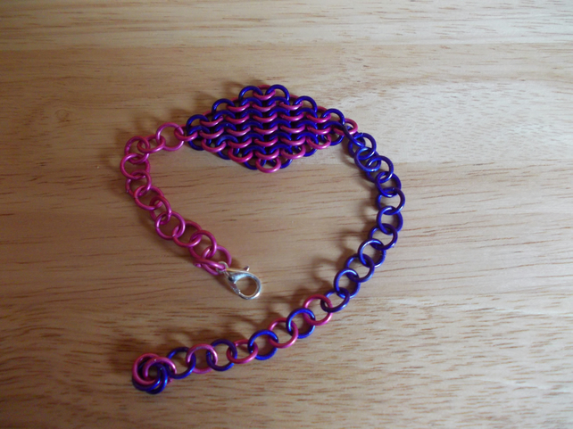 Pink and purple chainmaille bracelet