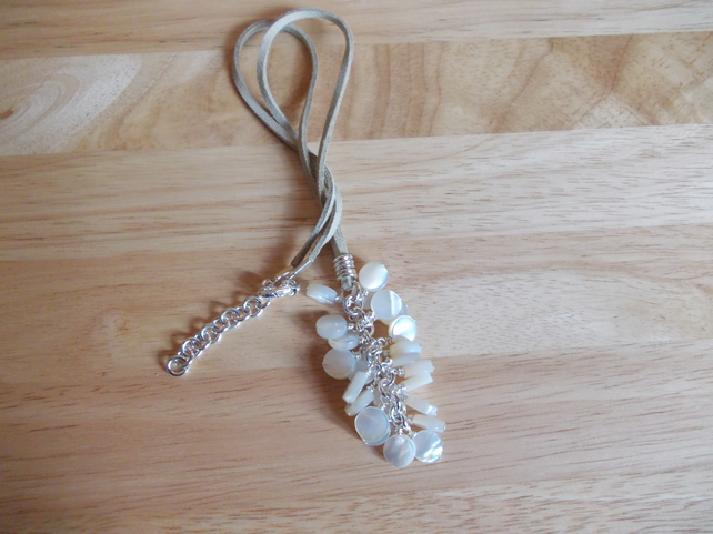 Cream shell coin cluster pendant necklace