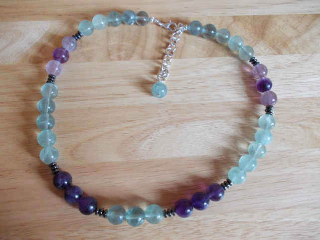 Fluorite and haematite necklace