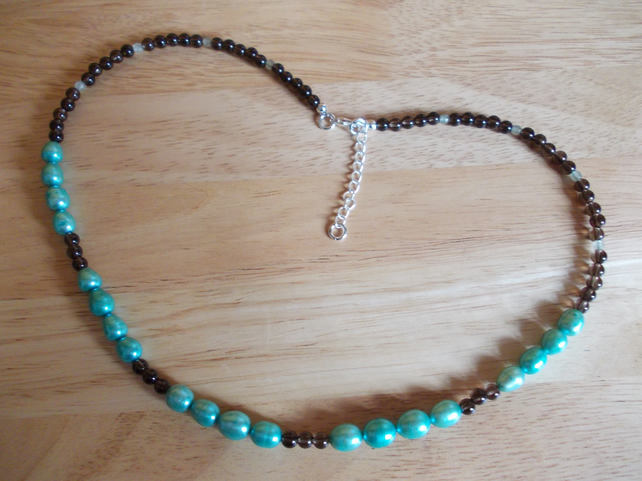 Teal pearl, smokey quartz and aventurine necklace