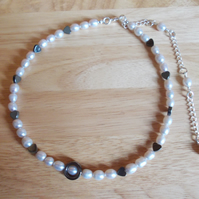 Silver pearl and haematite necklace