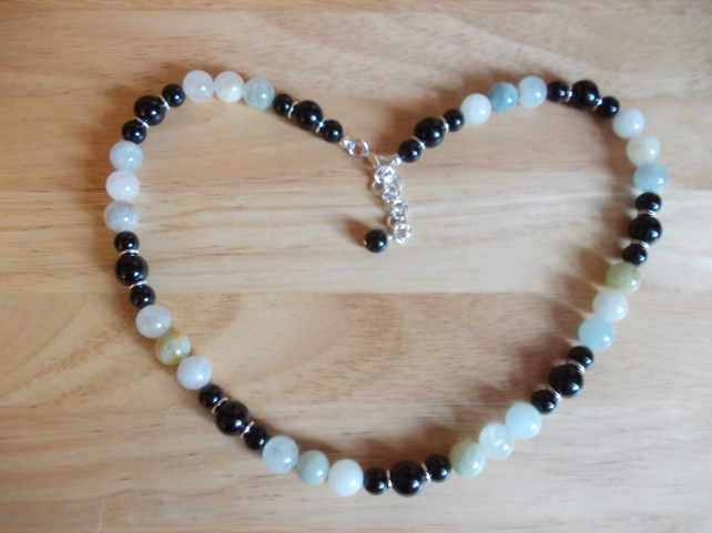 Aquamarine and black agate long length necklace