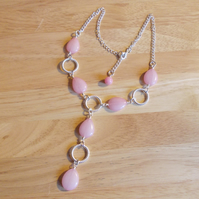 Pink Quartz drop necklace