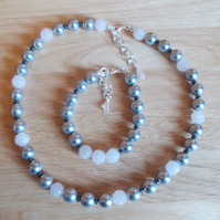 Dove grey shell pearl and carved rose quartz necklace and bracelet set