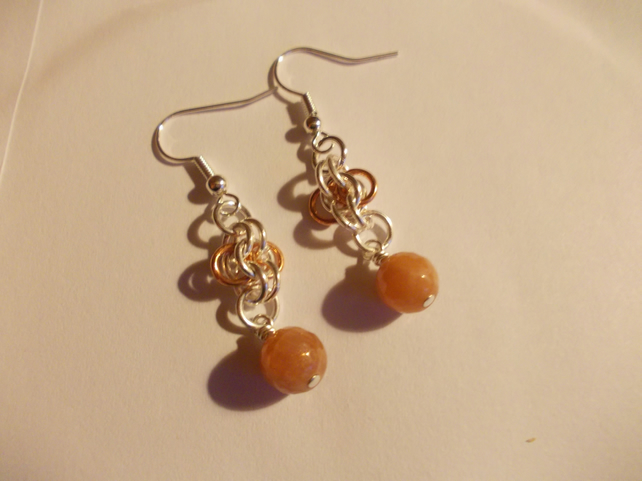 Sunstone and chainmaille earrings