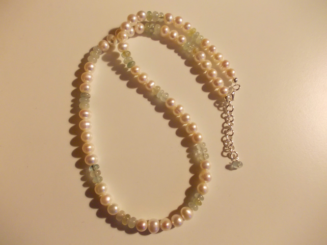 Freshwater pearl and Aquamarine set