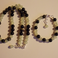 Prehnite and Golden Obsidian Set