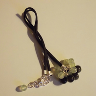 Prehnite and Golden obsidian pendant
