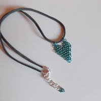 Teal chainmaille heart pendant