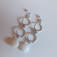 Drop shell coin and circle earrings