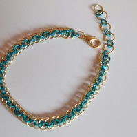 Golden and blue chainmaille bracelet