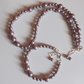 Mink shell pearl necklace and bracelet set