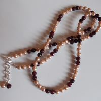 Garnet and shell pearl long length necklace (free earrings)