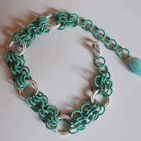 Pastel green and white butterfly chainmaille bracelet
