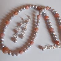 Silver pearl and peach moonstone necklace with free earrings