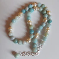 Amazonite and shell pearl statement necklace